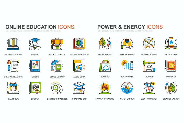 Thumbnail for Education and Power Industry Line Icons Set
