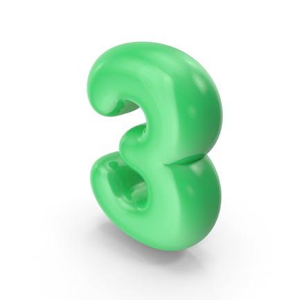 Grüner Toon Ballon Nummer 3