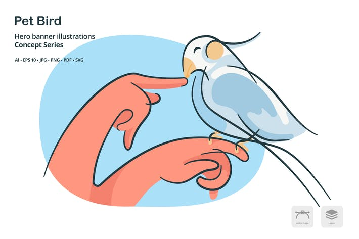Thumbnail for Pet Bird Vector Illustration