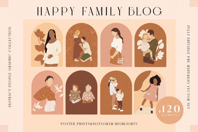 Abstract Family Mother Baby Kid Blog