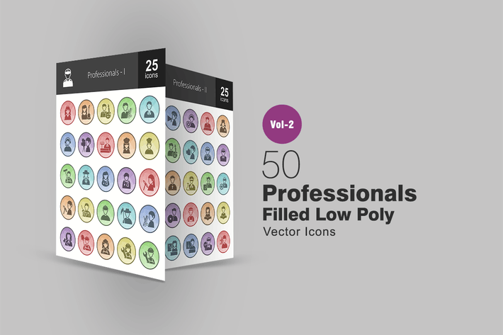 Thumbnail for 50 Professionals Filled Low Poly Icons