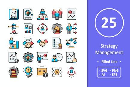 25 Strategie-Management-Icons - Gefüllte Linie