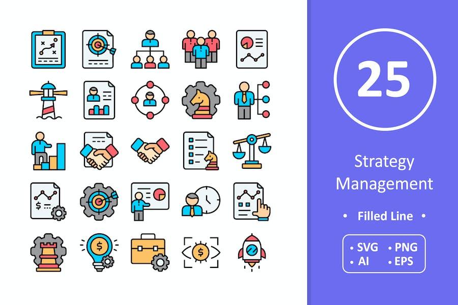 25 Íconos de gestión de estrategias - Línea llena