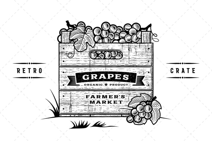 Thumbnail for Retro Crate Of Grapes Black And White