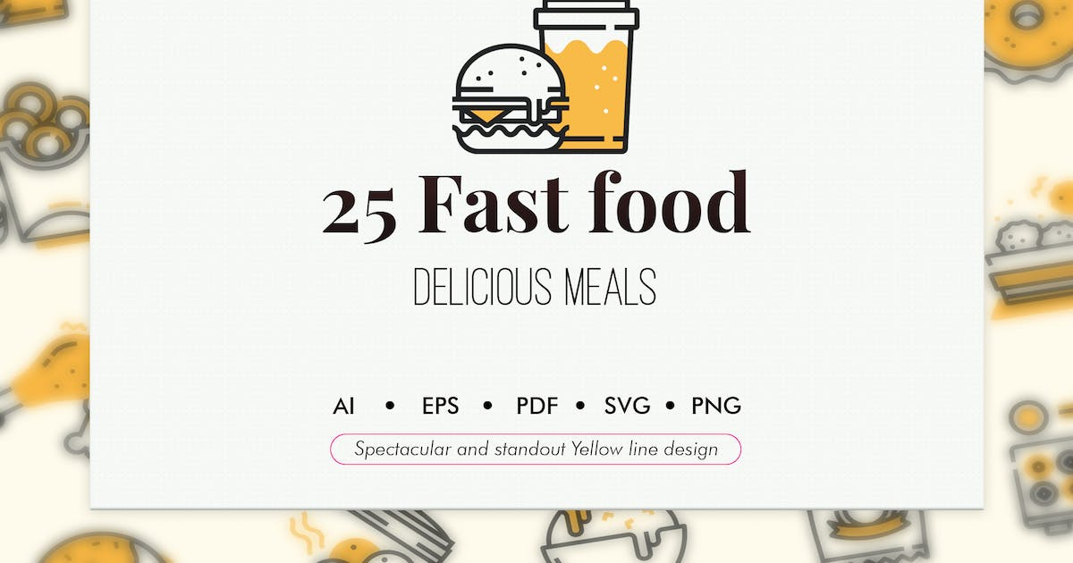 25 Fast foods Yellow line design by Chanut_industries