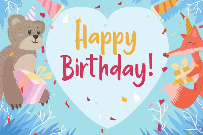 Thumbnail for Birthday Animal - Vector Illustration