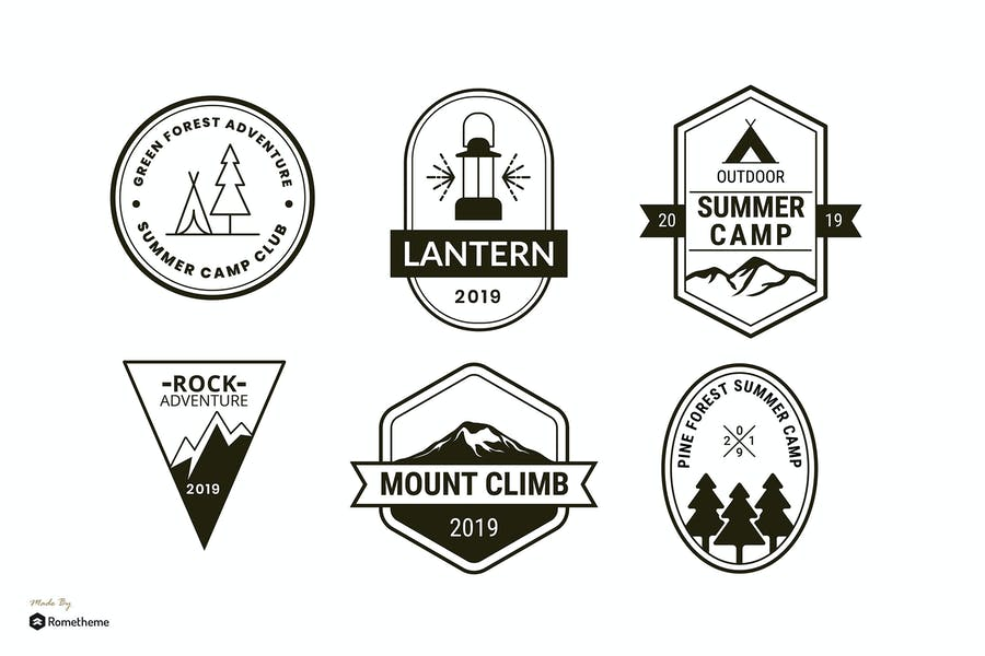 Set of Camping and Adventure Logo Badge RB