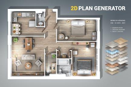 2D Plan Generator Photoshop Action