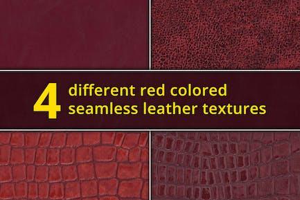 Set aus 4 nahtlosen roten Ledertexturen