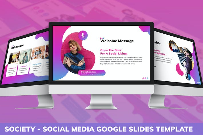 Thumbnail for Society - Social Media Google Slides Template