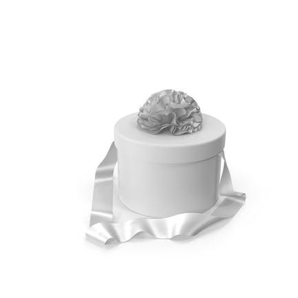 Caja de regalo redonda con cinta de seda