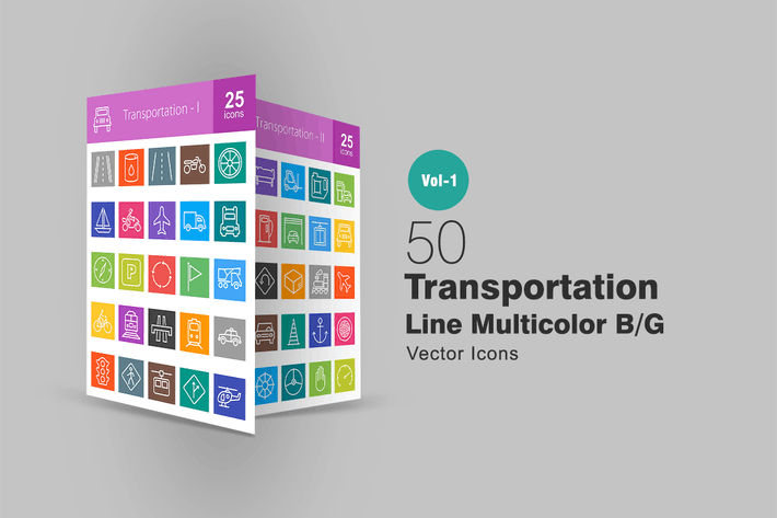 Thumbnail for 50 Transportation Line Multicolor Icons