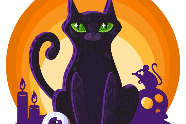 Thumbnail for Halloween Witch's Magic Cat Illustration