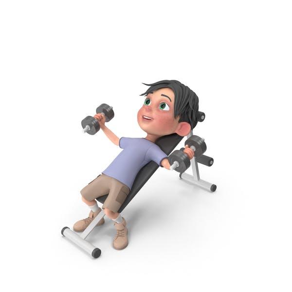 Thumbnail for Cartoon Boy Jack Lifting Dumbbells