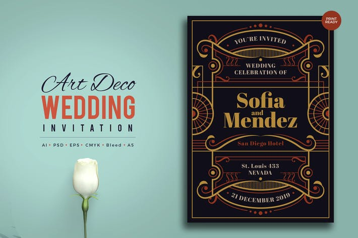 Thumbnail for Art Deco Wedding Invitation PSD And Vector Vol.6