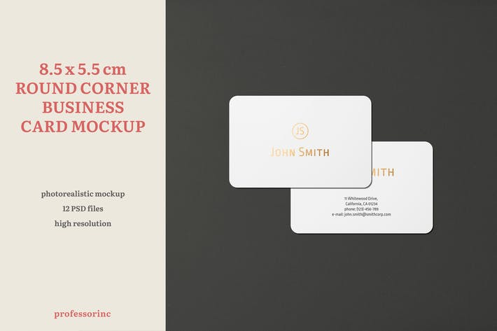 Thumbnail for 8.5x5.5 Landscape Business Card Mockup