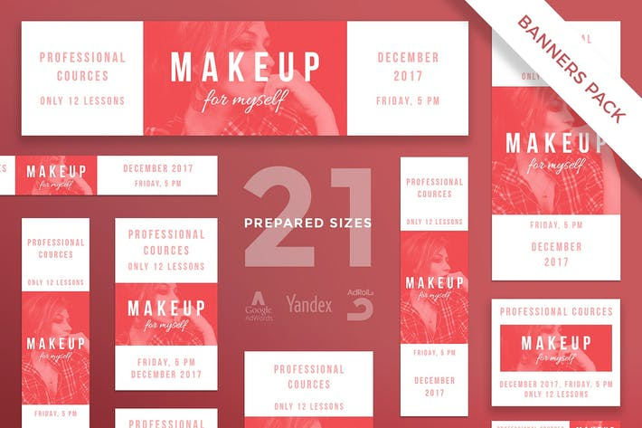 Cover Image For Makeup Courses Banner Pack Template