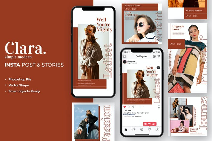 Thumbnail for Clara - Fashion Instagram Post & Stories Template