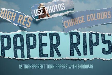 12 déchirures de papier isolées
