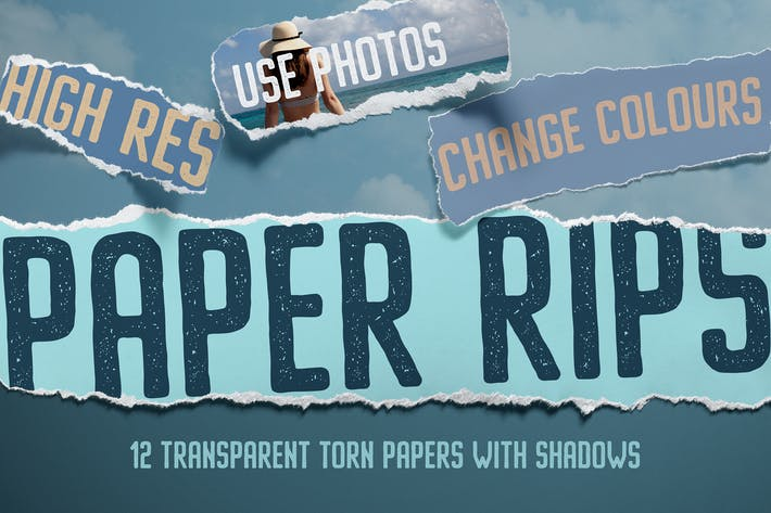 Cover Image For 12 Isolated Paper Rips