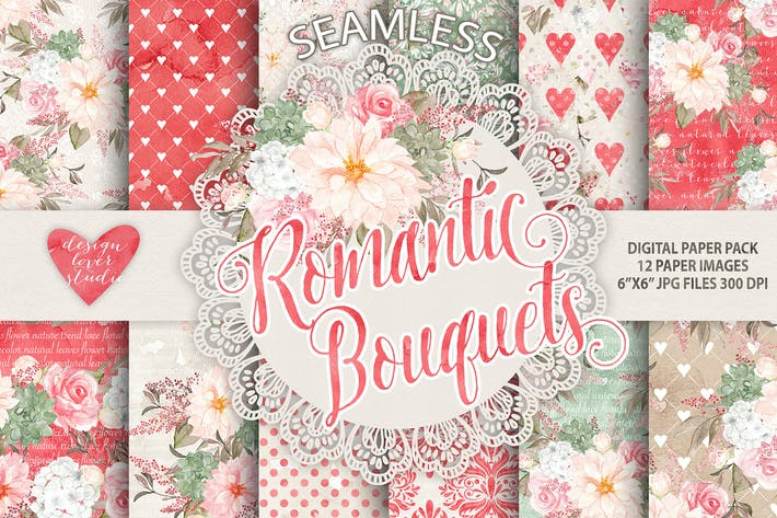 "Thumbnail for Watercolor ""Romantic Bouquets"" digital papers"
