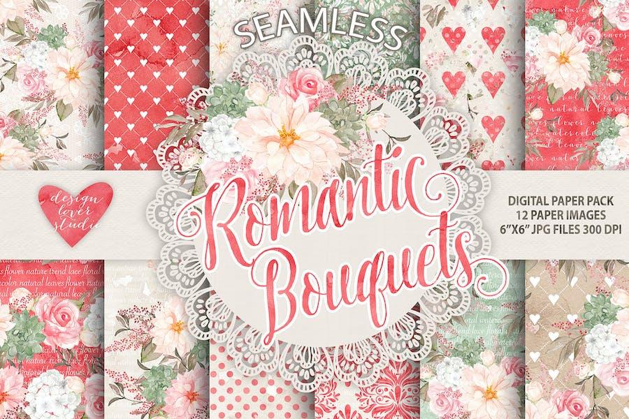 "Watercolor ""Romantic Bouquets"" digital papers"