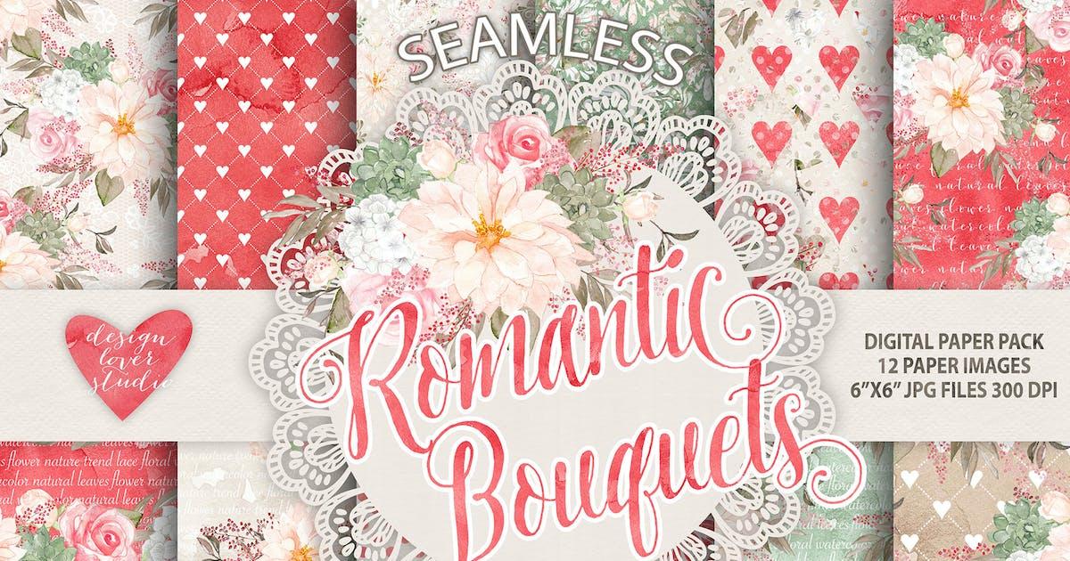 "Download Watercolor ""Romantic Bouquets"" digital papers by designloverstudio"
