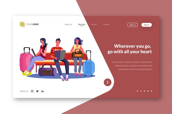 Thumbnail for Travel - Web Landing Page Template