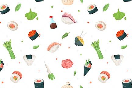 Asian Cuisine - Flat Design Style Pattern