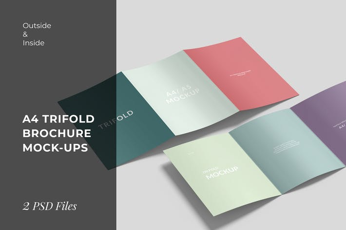 Thumbnail for Outside and Inside of A4 Trifold Brochure Mockups