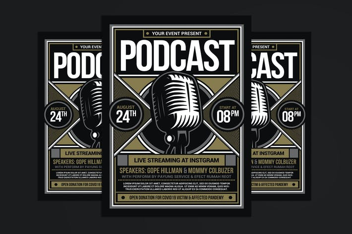 Thumbnail for Podcast Show Flyer Template