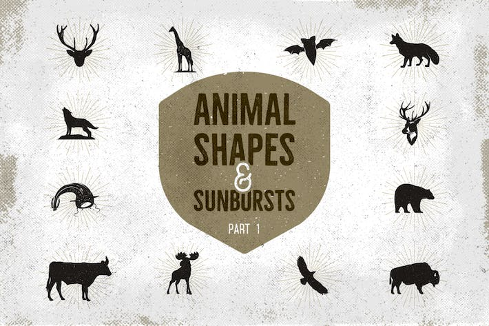 Thumbnail for Vintage Animal Shapes & Sunbursts. Part 1