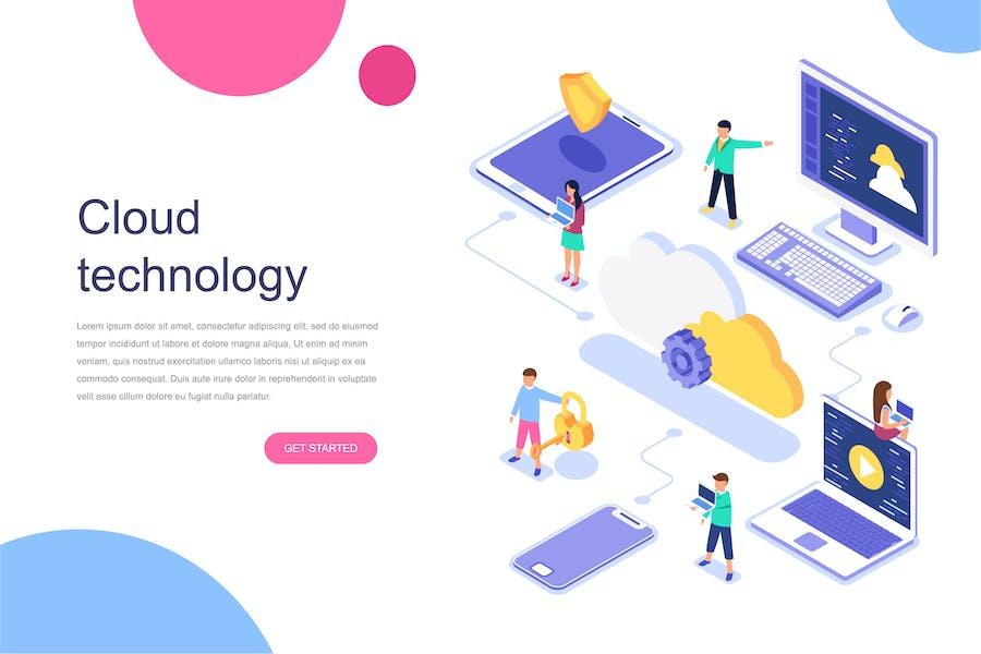 Concept isométrique de la technologie cloud