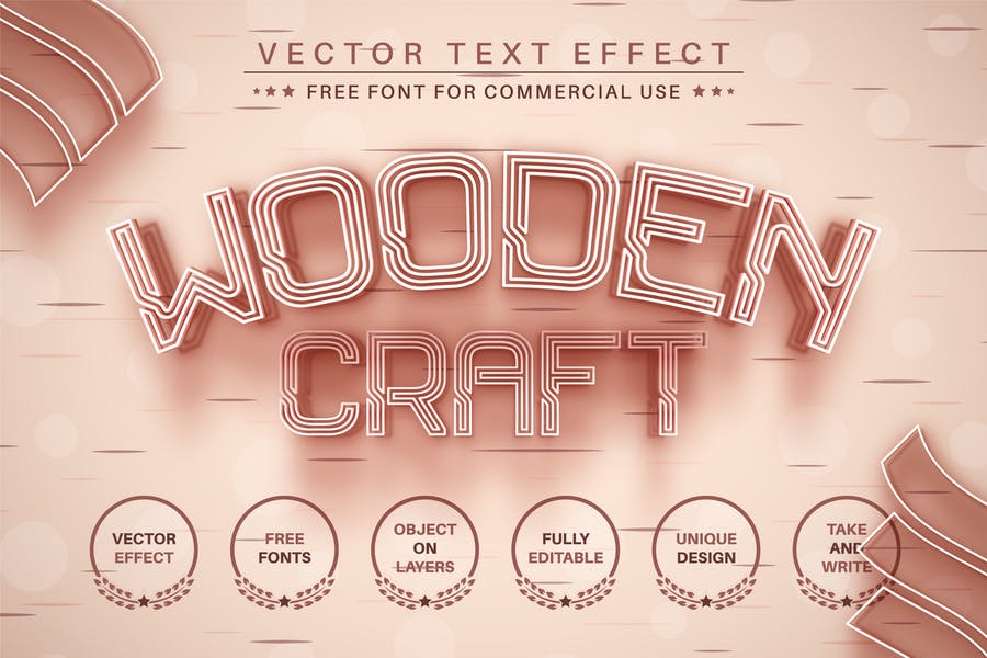 Wooden Craft - Editable Text Effect, Font Style
