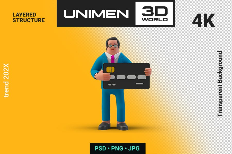 Businessman Holding Bank Card 3D on Transparent