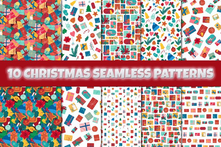 Thumbnail for Christmas And New Year Seamless Patterns Set