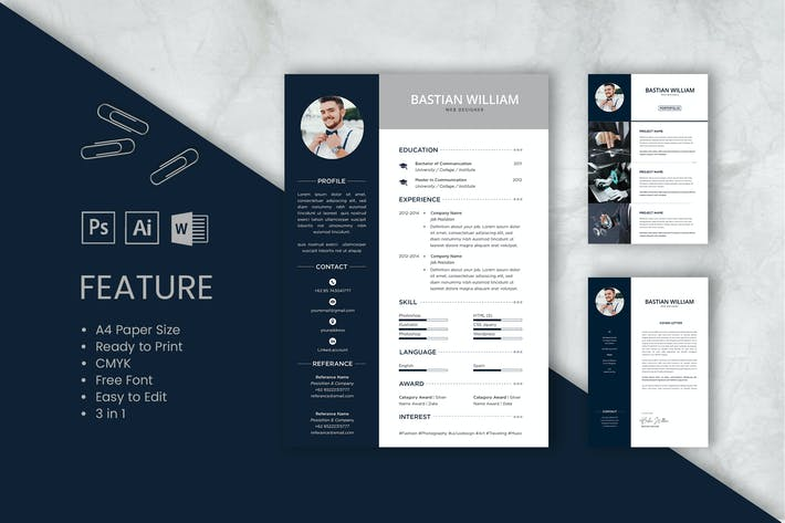 Thumbnail for Professional CV And Resume Template Bastian