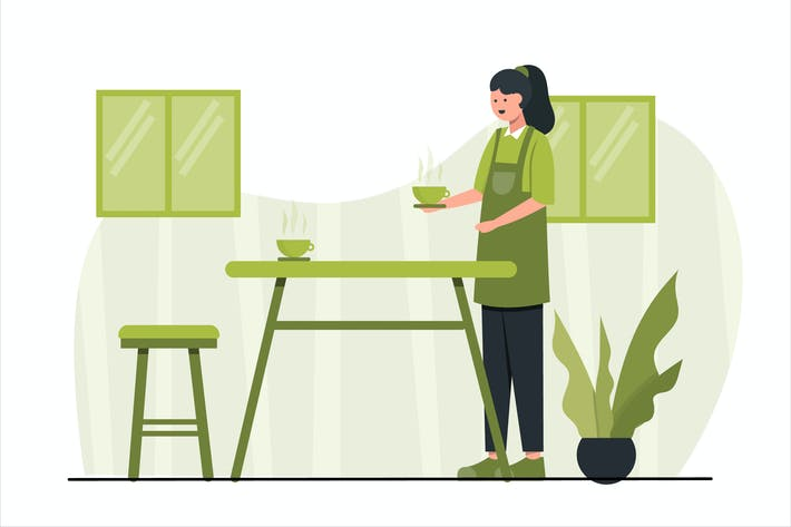 Cover Image For Coffee Shop Concept Flat Design Illustration