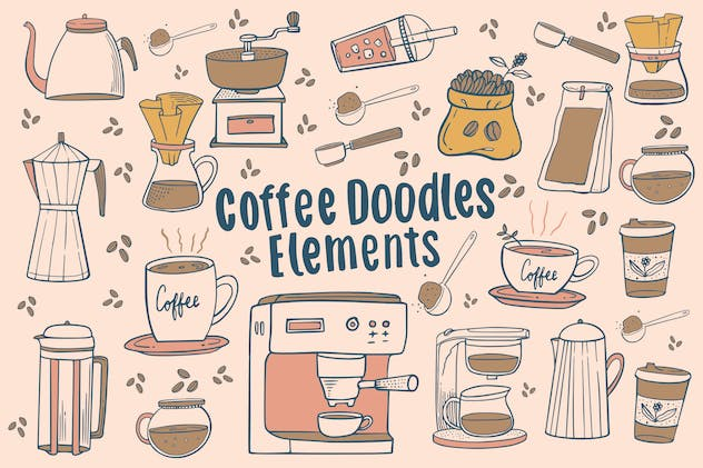 Coffee Doodles Elements