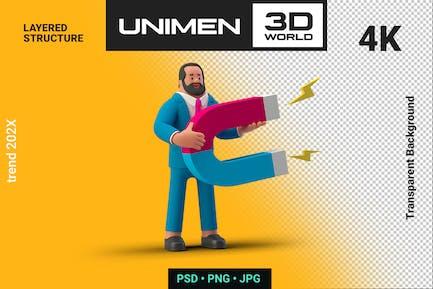 Businessman 3D holding Magnet on Transparent BG