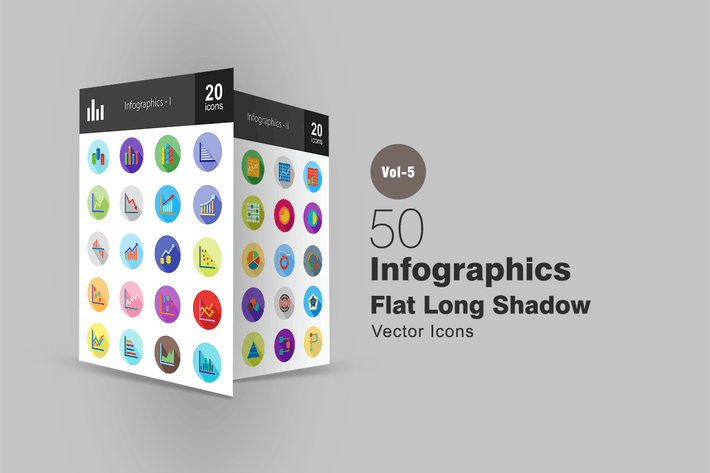 Thumbnail for 40 Infographics Flat Shadowed Icons