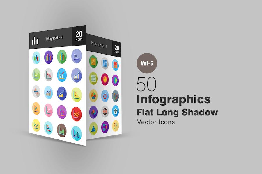 40 Infographics Flat Shadowed Icons