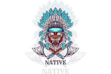 tiger head indian native illustration