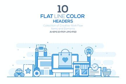 Set of Flat Line Color Headers
