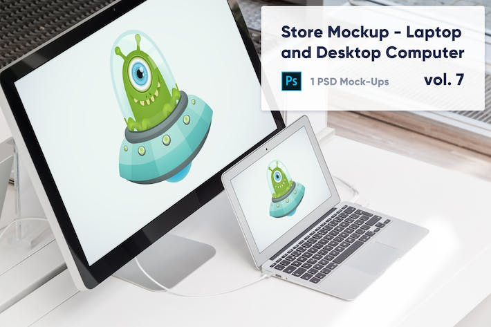 Thumbnail for Laptop and Desktop Computer Mockup in the Store