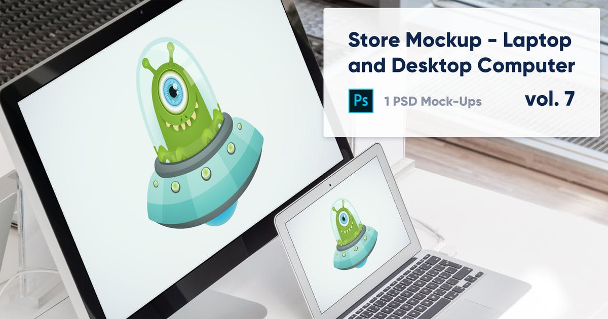 Download Laptop and Desktop Computer Mockup in the Store by maroskadlec