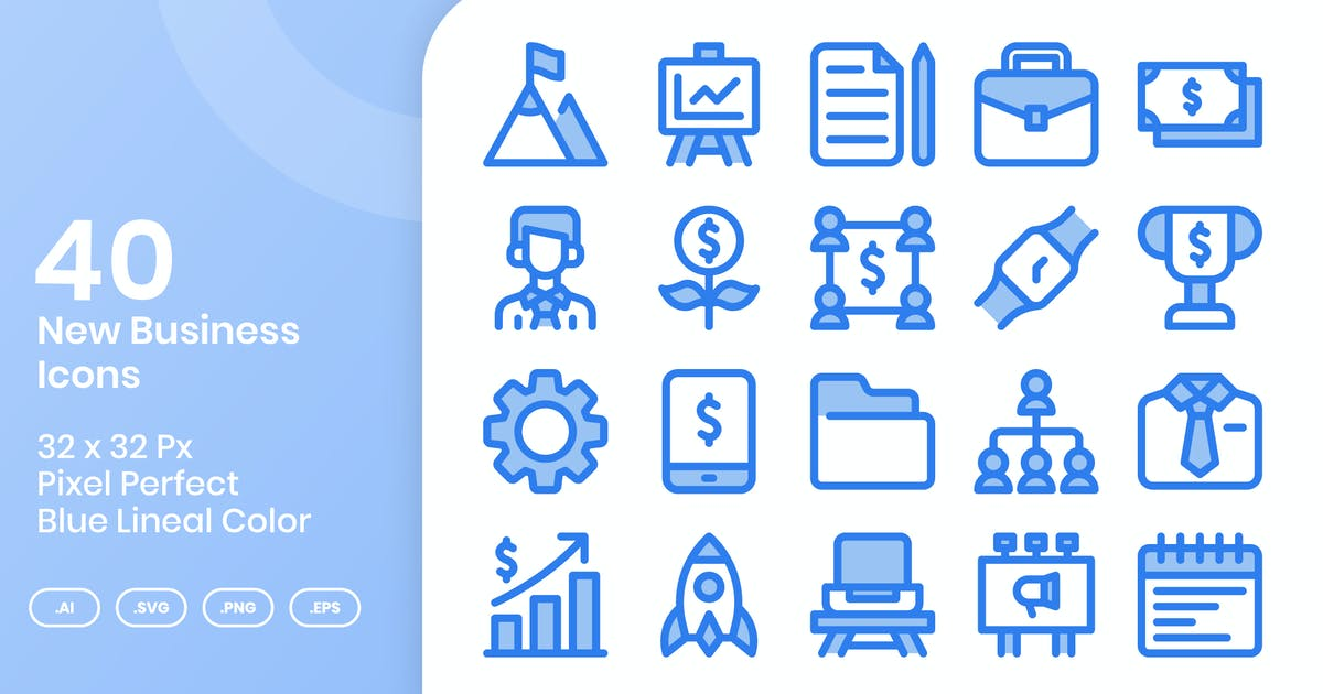 Download 40 New Business Icons Set - Blue Lineal Color by kmgdesignid
