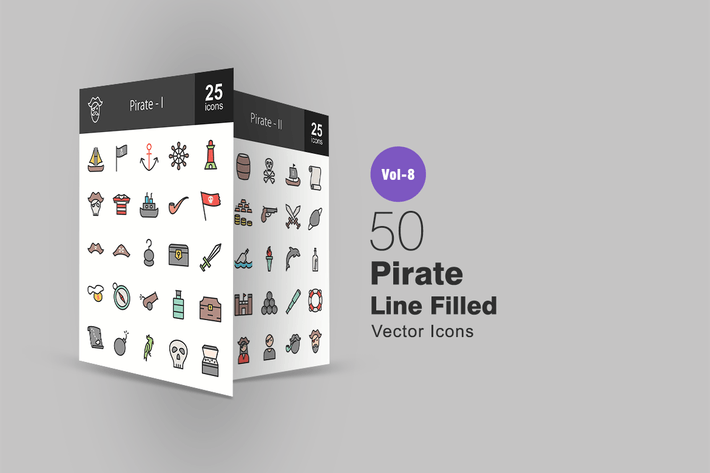 Thumbnail for 50 Pirate Line Filled Icons