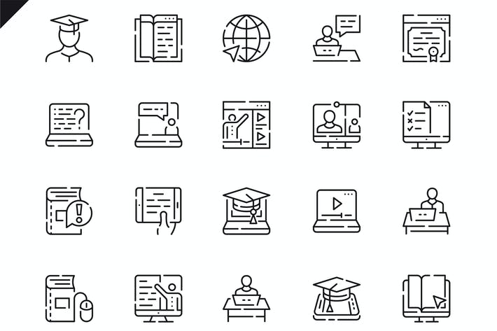 Thumbnail for Simple Set Online Education Line Icons