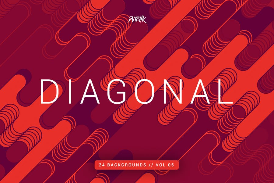 Diagonal |Rounded Lines Backgrounds | Vol. 05